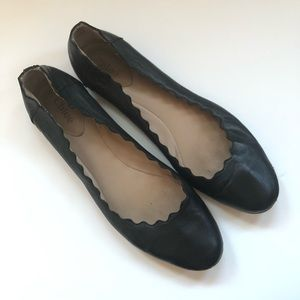 Chloe Lauren Black Leather Scalloped Flats 10